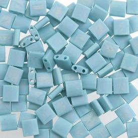 1101-7714-7.2GR - Bille de Verre Perle de Rocaille Tila 5MM Miyuki Turquoise Opaque Mat AB 2 Trous Japon TL412FR 1101-7714-7.2GR,Billes,Verre,Tila,Bille,Perle de Rocaille,Verre,Verre,5mm,Carré,Tila,Bleu,Turquoise,Opaque,Mat,montreal, quebec, canada, beads, wholesale