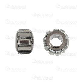 1111-5040-BN - Metal Bille 9x7mm avec Zircon Noir Trou 5mm 5pcs 1111-5040-BN,Pendentifs,Métal,montreal, quebec, canada, beads, wholesale