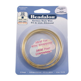 180N-222 - Beadalon Brass Wire Square 22 Gauge Brass 3.5m USA 180N-222,Beadalon,Brass,Wire,Square,22 Gauge,Brass,3.5m,USA,Beadalon,Non-Tarnish Wire,montreal, quebec, canada, beads, wholesale